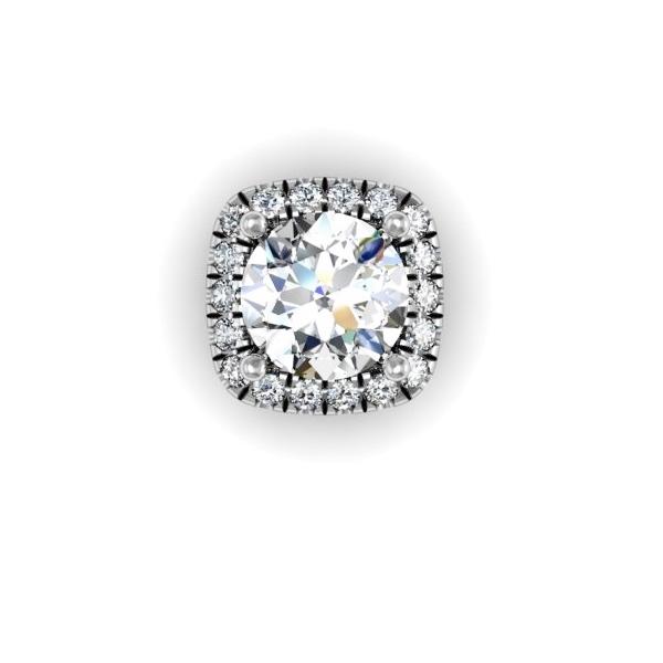Cushion Diamond Halo Necklace 1/3ctw.
