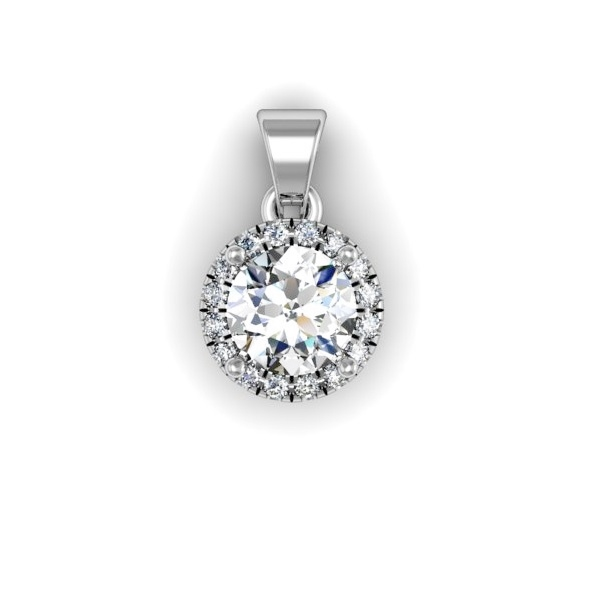 Round Brilliant Diamond Halo Pendant with Bail 1/3ctw.