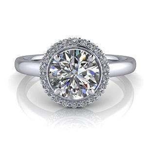 Single Halo Round Engagement Ring